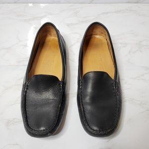 Salvatore Ferragamo Black Leather Driving Loafers